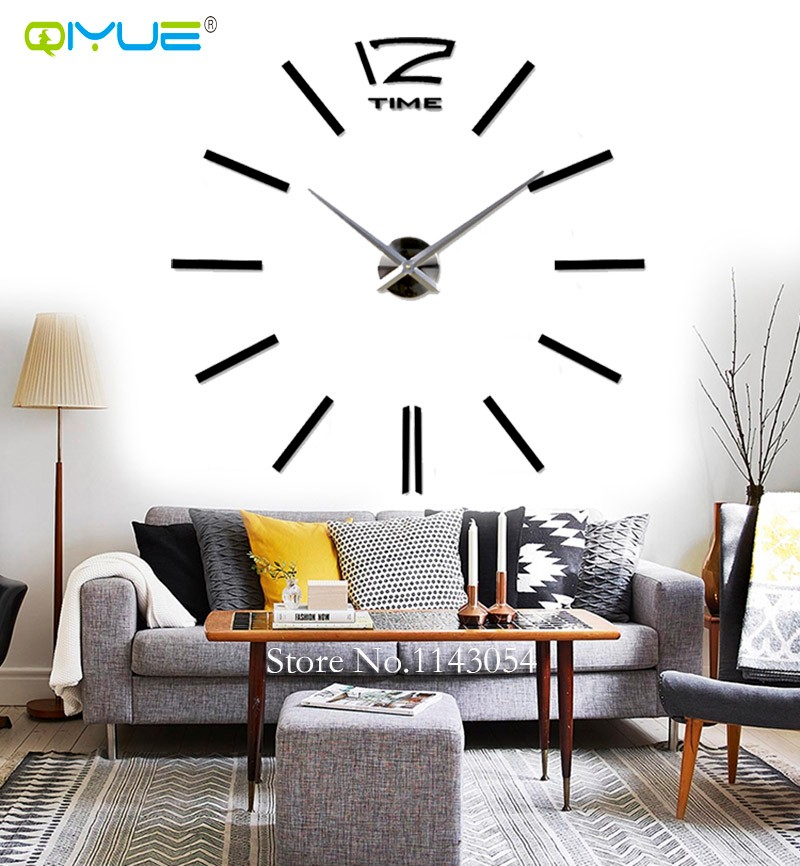 Home Decorations Black Digital Wall Clock European Oversized Living Room  Minimalist Fashion DIY Wall Art Bell Clock W003B In Wall Clocks From Home U0026  Garden ...