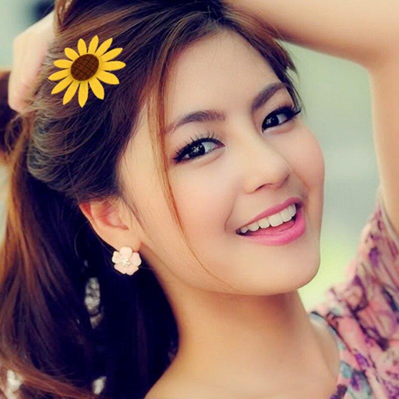 Hot Sale Sunflower Hair Clips Hair Rope Family Cute Children Hairpins Colorful   Headwear