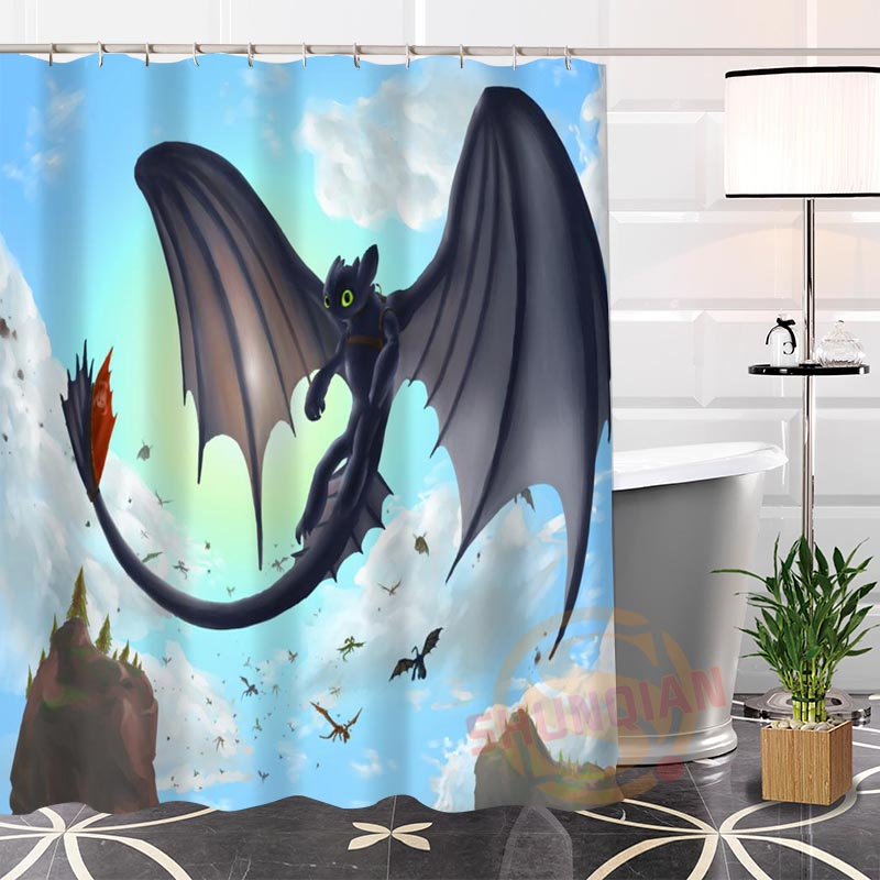 100% Polyester Custom Popular How to train your dragon Fabric Modern Shower Curtain bathroom Waterproof New arrival H0223-21