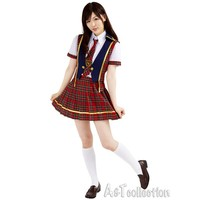 New Fashion 4 In 1 Set Japanese Plaid Style School Clothes Lady Student Wear School Uniforms