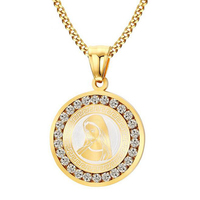 Blessed Virgin Mary Pendant Necklace Men Quality 18K Gold Plated Stainless Steel Chain Necklace For Men