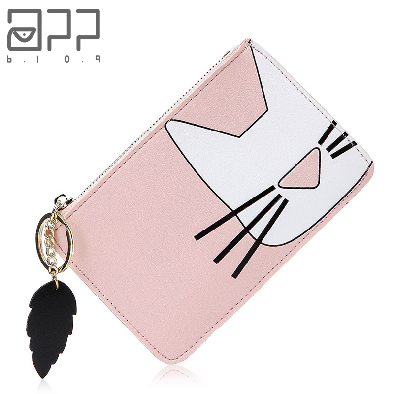 APP BLOG Brand Women Girl Teenagers Cute Cat Coin Purses Holders Leather Clutch Wallet Female Tassel Pendant Money Wallets вешала e blog led