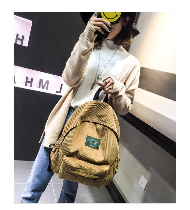 HTB13A0cKXmWBuNjSspdq6zugXXau Women Striped Corduroy Backpack Female Eco Simple Cloth Bag Large Capacity Vintage Travel Bags School Backpack for Teenage Girls