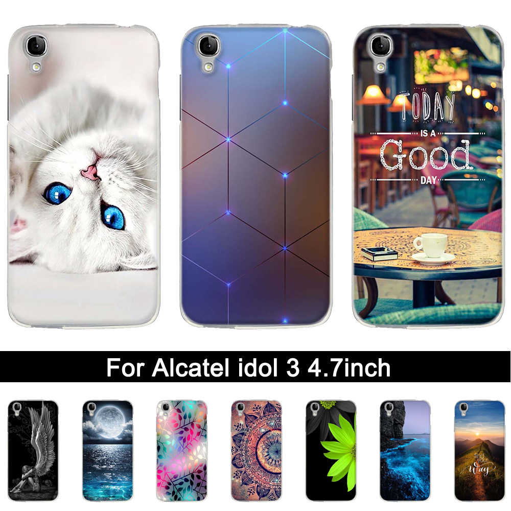 "TPU Case for Alcatel Idol 3 4.7 inch Printing Soft Silicone Back Phone Case Cover for Alcatel One Touch idol3 6039Y 4.7"" Shells"