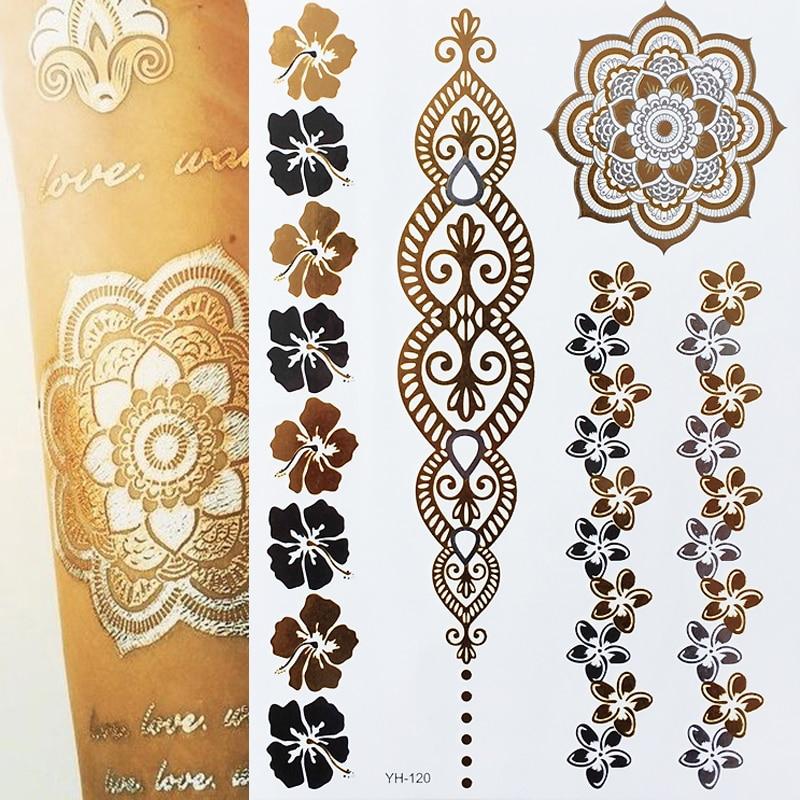 Us 09 5 Off1 Sztuk Nowy Indyjskie Wzory Arabskie Złoty Srebrny Flash Tribal Tatuaż Z Henny Metali Tymczasowe Tatuaże Naklejki Na Ciele Ręcznie W
