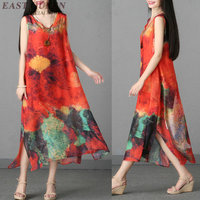Top selling women long style summer dress A line sleeveless print beach Mexican o neck female ankle lentgh dress AA3462 F