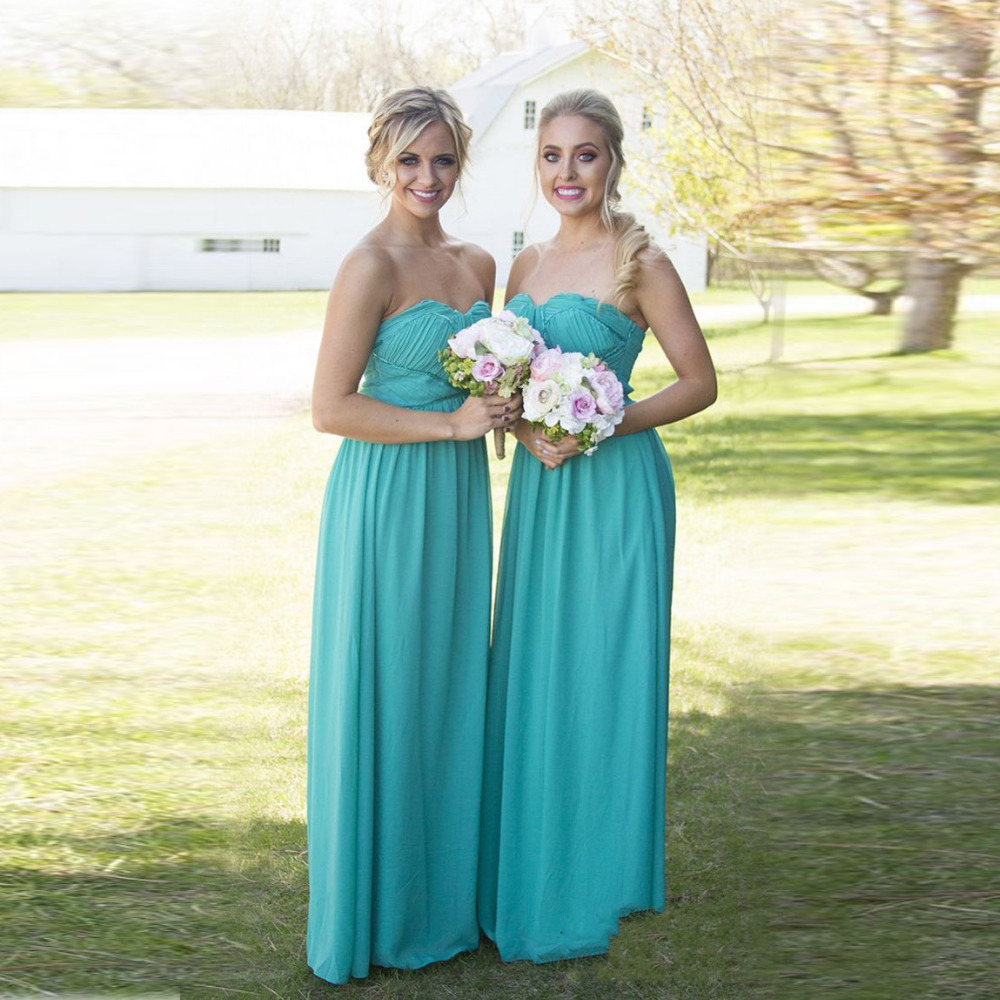 Vestidos de dama de honor azul turquesa