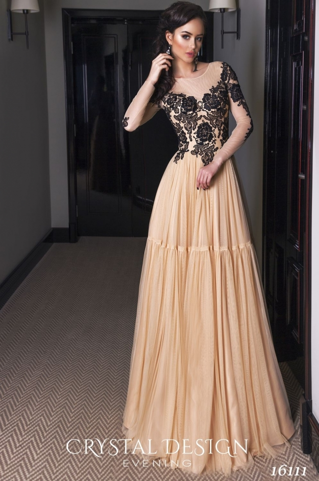 Couture Long Sleeves Champagne   Evening     Dresses   2017 Illusion Lace   Evening     Dress   Sexy Women Formal Gowns Prom Gown robe de soiree