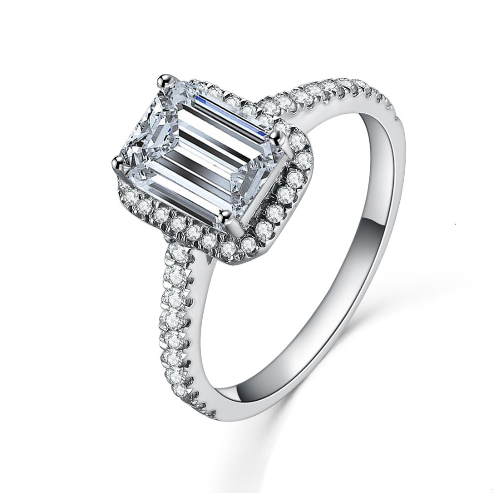 Antique 1ct Emerald Cut Synthetic Diamonds Ring Solid 925 Sterling Silver  Ring White Gold Color Engagement