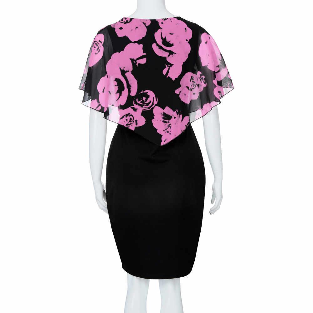 ... Fashion Womens floral dress Casual Plus Size Rose Print Chiffon O-Neck  Ruffles Mini Dress 2f2a8d42546a