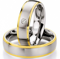 top quality Gold Plating Inlay Titanium silver color wedding bands Couples lover Rings for men and women