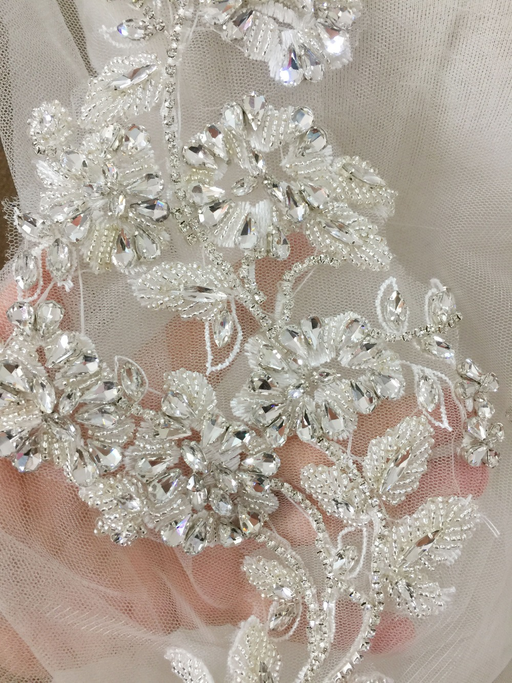 Crystal Rhinestone Beaded Applique Pair, Handmade Bridal Lace Statement for Sash Wedding Belt