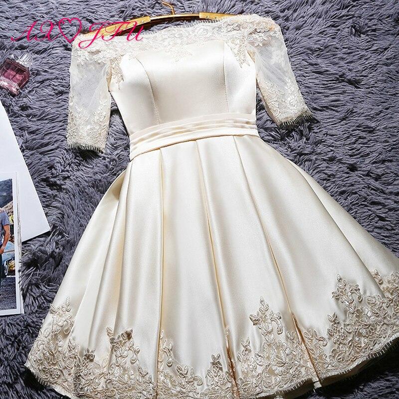 AXJFU champagne lace Evening Dresses princess vintage white short evening dress wine red boat neck flower evening dress