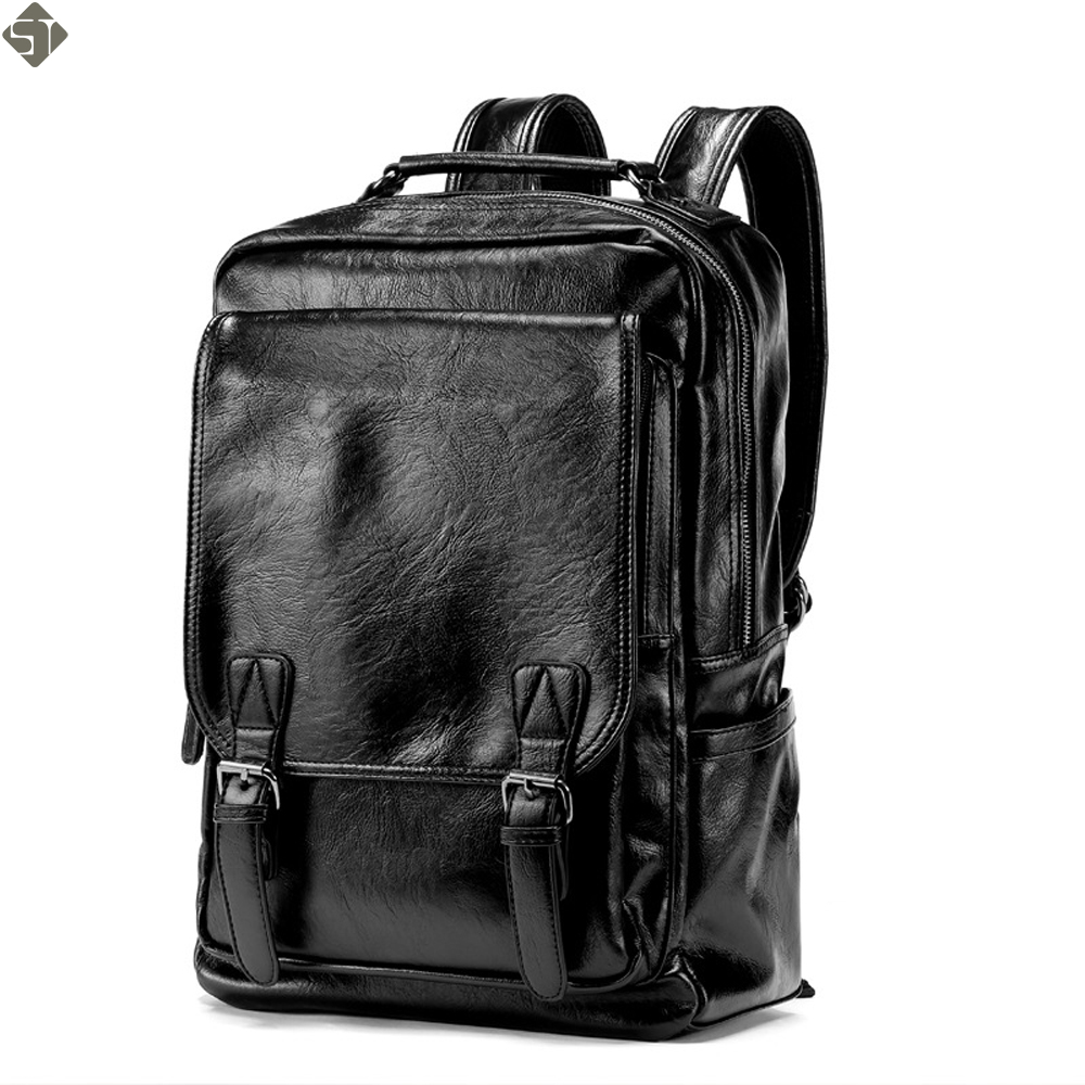New Arrival Vintage Men PU Leather Backpacks Large Capacity Zipper Solid Backpack for Teenagers High Quality Black Shoulder Bags new women pu leather backpack minimalist solid black high quality tassel bags for teenagers girls preppy style string backpacks