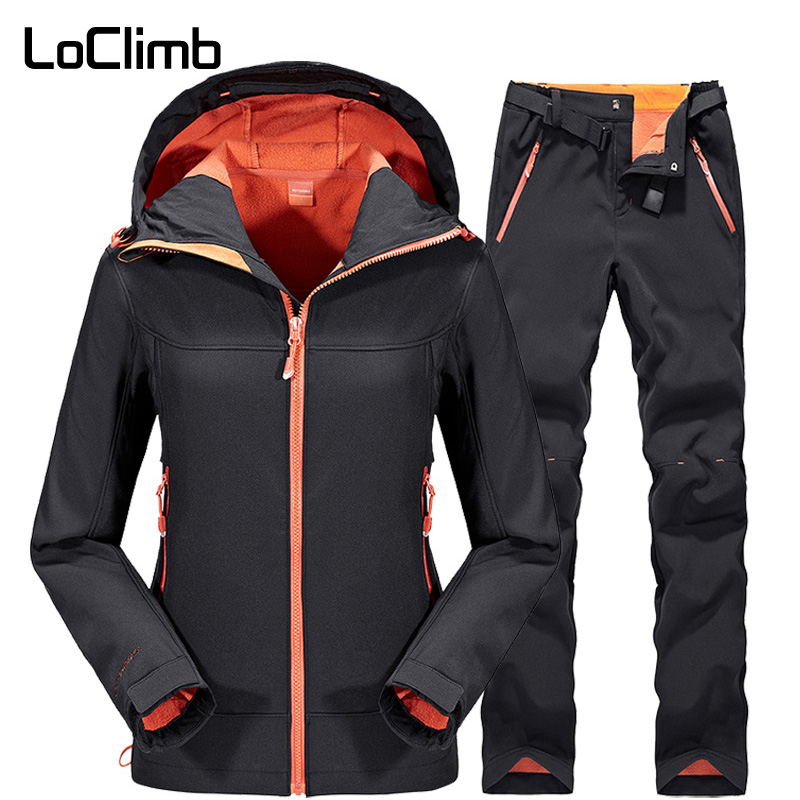 LoClimb Waterproof Hiking Jacket Women Men Winter Soft Shell Coat Camping Trekking Pants Outdoor Softshell Jackets Suit AW070