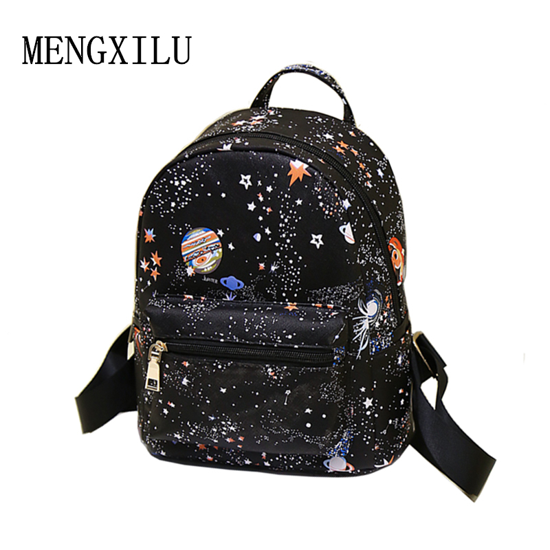 Fashion Star Universe Space Printing Kvinder Læder Mochila Escolar Backpack Black School Tasker Til Teenage Girls Small Backpack