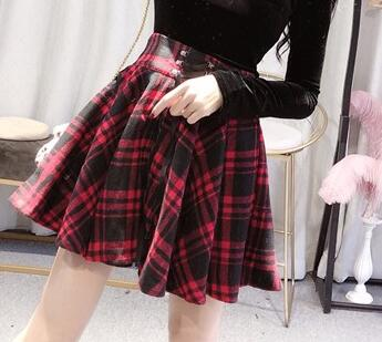 186a582f7375 2019 New Gothic Girls Spring Summer Black Red Plaid Skirt Women High Waist  A-Line Lace-Up Lacing Mini Short Skirt Plus Size 4XL