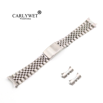 CARLYWET 13 17 19 20 22mm Hollow Curved End Solid Screw Links Silver 316L stainless Steel Replacement Watch Band Strap Bracelet 19 20 22mm gold two tone hollow curved end solid screw links 316l steel replacement watch band strap old style jubilee bracelet