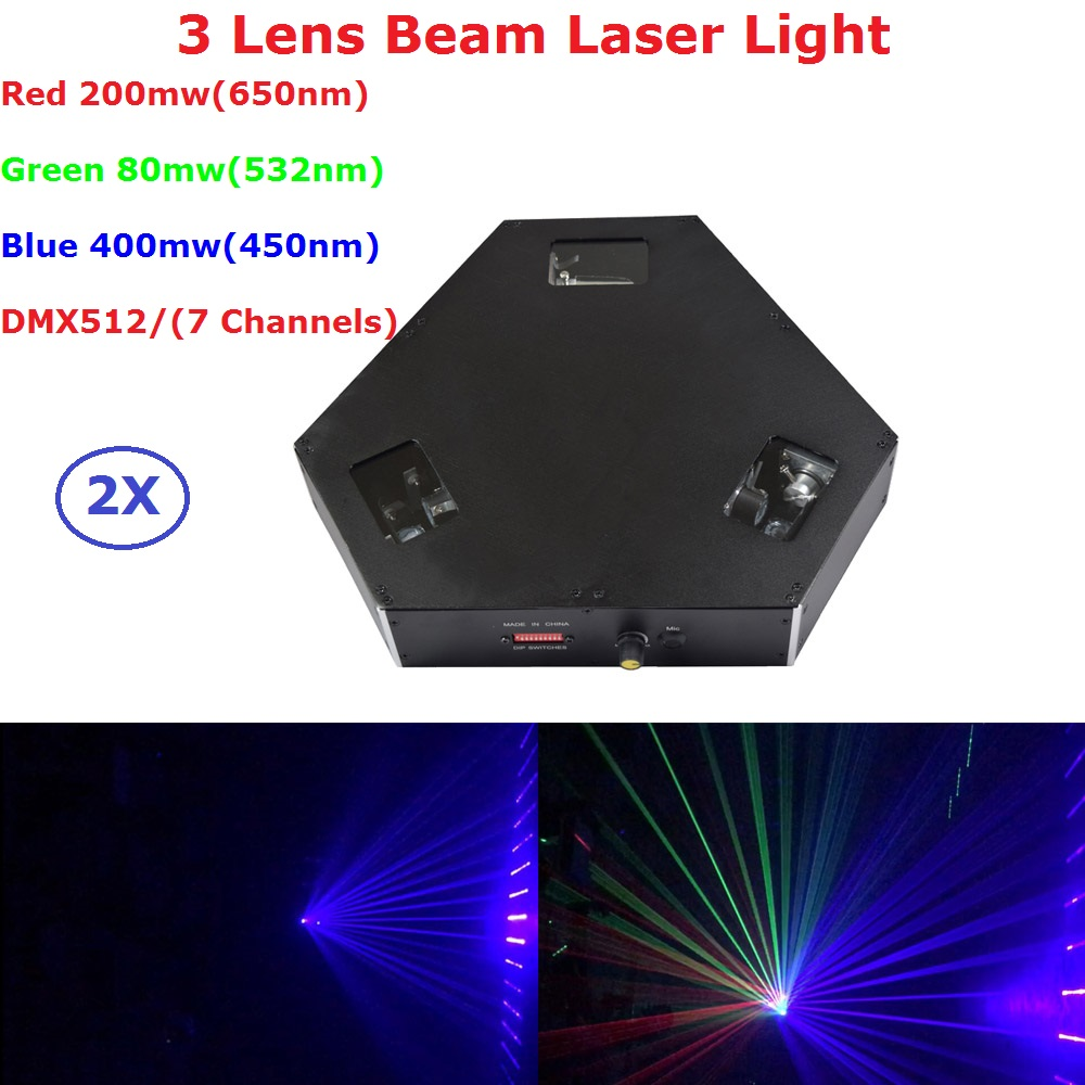 2XLot Fast Shipping 680mW Laser Lights RGB Full Color 3 Lens Beam Stage Lighting KTV Disco Dj Lights DMX512 7 Channels