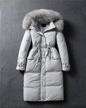 Fashion 2016 Women's Fur Hooded Down Coats Long Solid Zipper Slim Thick Full Sleeve Down Parka Coat Winter Jacket Down Plus Size