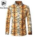 Fire Kirin Men Shirt 2017 Slim Fit Mens Leopard Print Shirt 5XL Casual Long Sleeve Dress Shirts Chemise Homme Marque Luxe T168