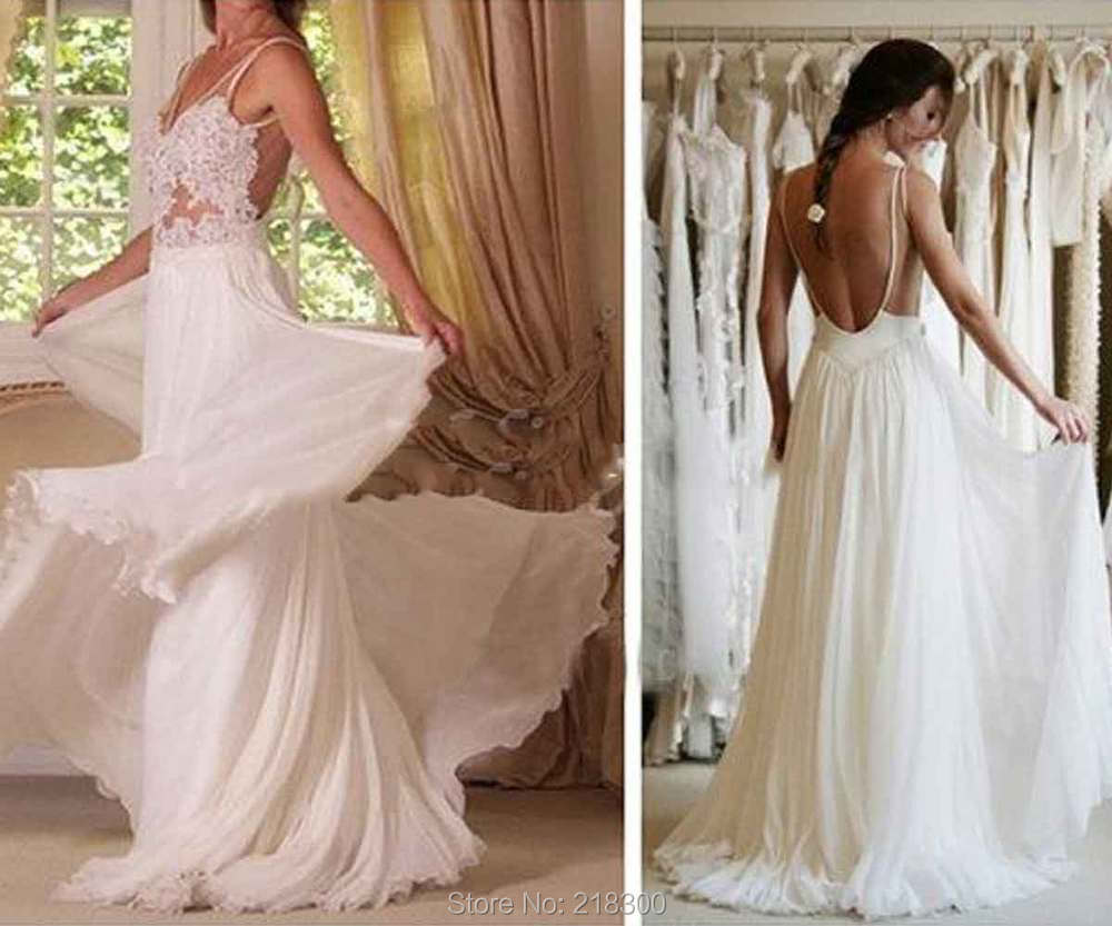 Buy lace backless chiffon wedding dress for Backless beach wedding dresses