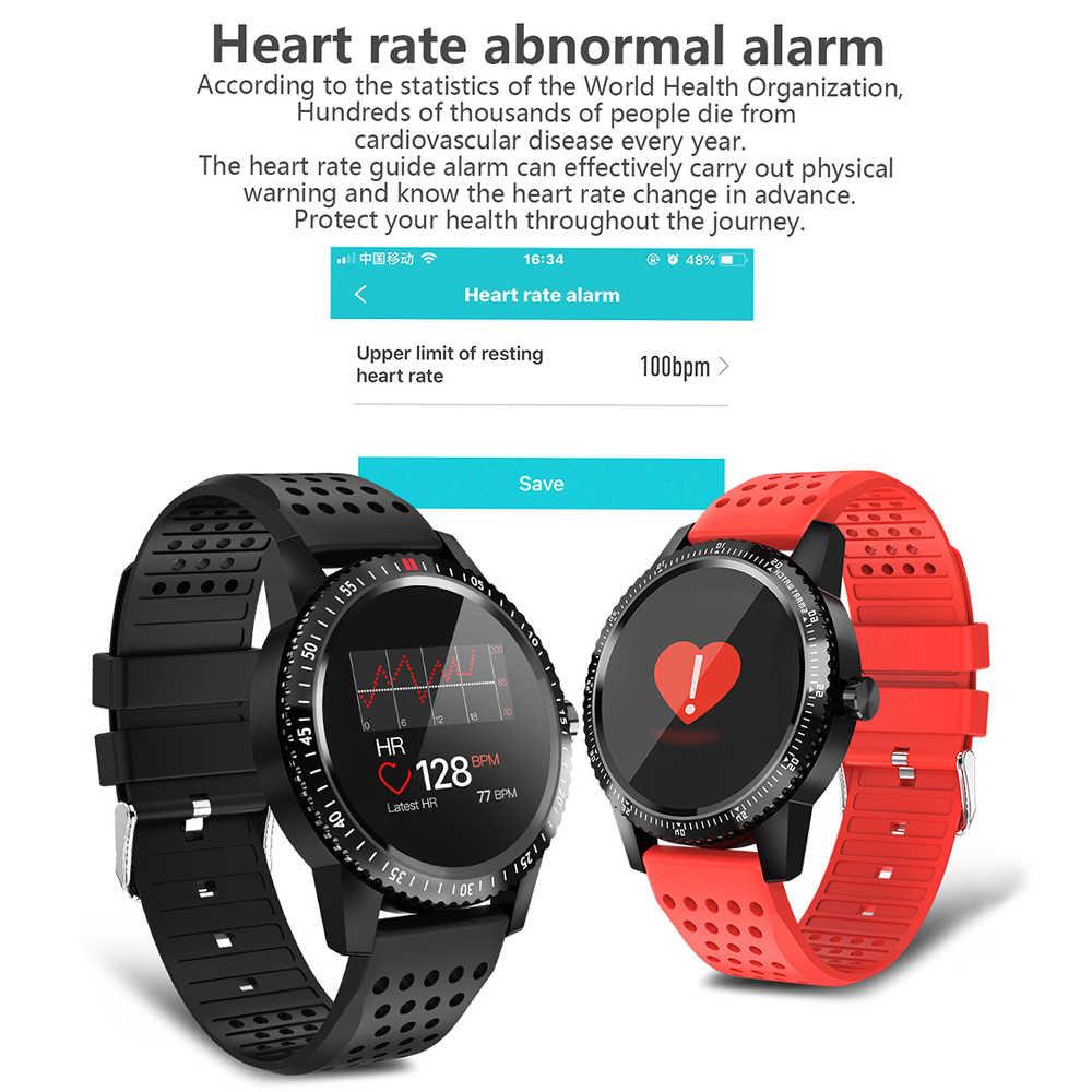 20f014ae4339 DOOLNNG T1 inteligente reloj Bluetooth IP67 impermeable de la vigilancia de  la presión arterial deporte podómetro información a