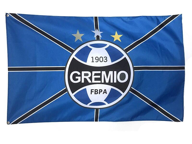 Football drapeau Taille 3ft * 5ft 90*150 cm soprts personnalisé drapeaux bannière Brésil (Sport Brésilien Club) Gremio