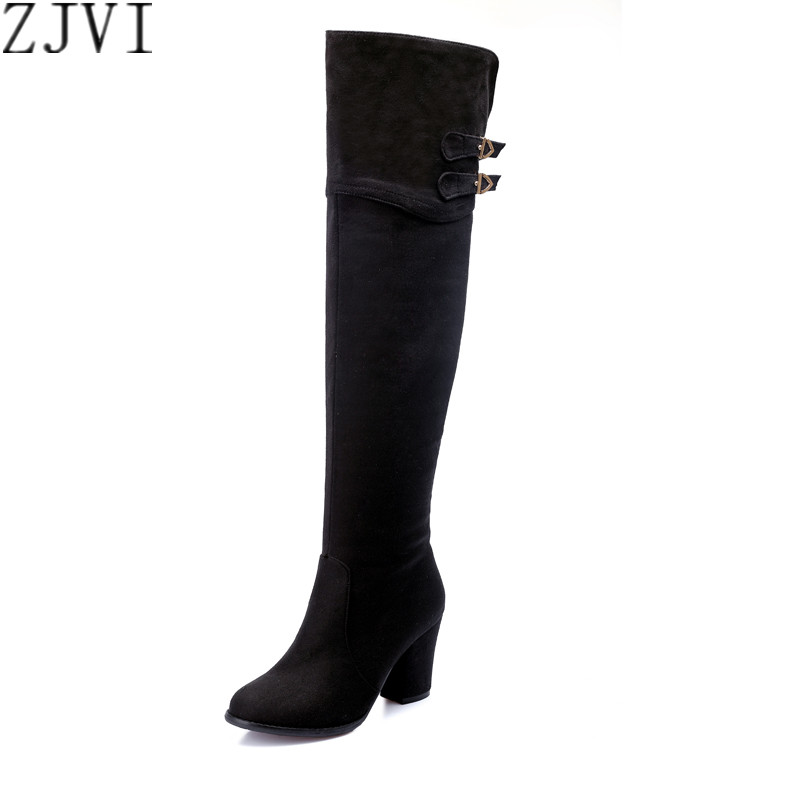 ФОТО ZJVI ladies sexy nubuck buckle winter shoe woman over the knee boot women black blue shoes thigh high heels boots plus size