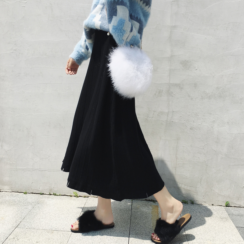 Autumn And Winter Women 2019 New Knitted Ankle-Length A-Line Skirt High Waist Elegant Pleated Solid Knitting Cotton Skirts
