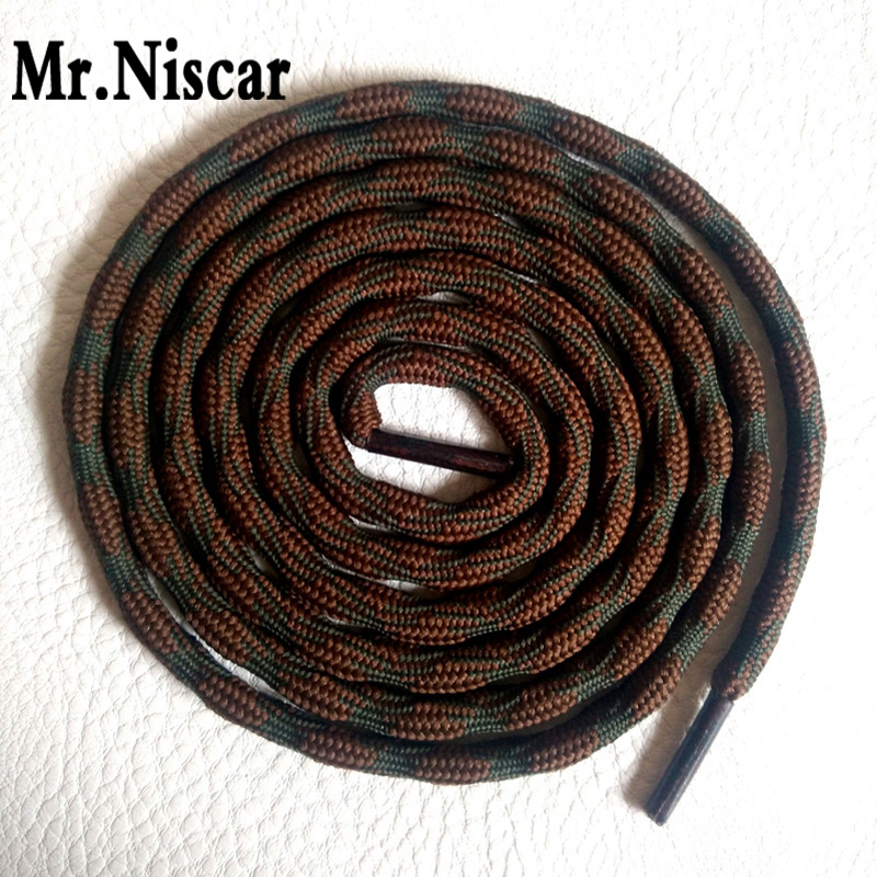 Mr.Niscar 2 Pair Fashion Strong Anti-skid Wave Round Hiking Climbing Shoelaces Brown Outdoor Shoe Laces Shoelaces Shoes Rope