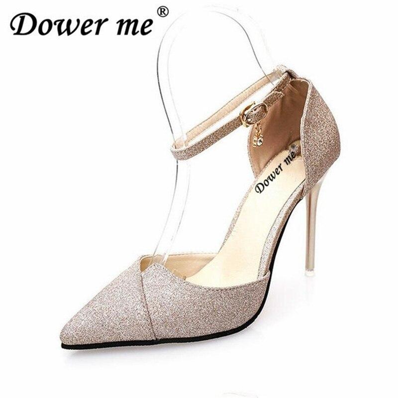 Glitter Nueva Tacones Talón Mujer Bombas Cruz Sexy Zapatos Trabajo golden Hebilla Black Banquete silver De Cm 2019 Boda Alto Mujeres 10 SYq4dAdn