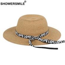 SHOWERSMILE Straw Hat Women High Quality Sun Summer Female Letter Deco Ribbon Beach Casual Khaki Panama Ladies Fedora Hats