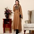 Mulheres Plus Size Gola de Pele De Guaxinim Fino Casaco de Trincheira de Lã Cashmere Longo Outerwear Design Elegante Casaco de Lã Das Mulheres