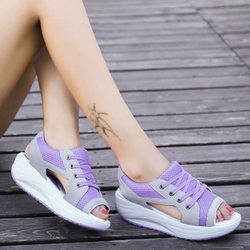 Fashion Summer Women Sandals Casual Mesh Breathable Shoes Woman Ladies Wedges Sandals Lace Platform Sandals 4