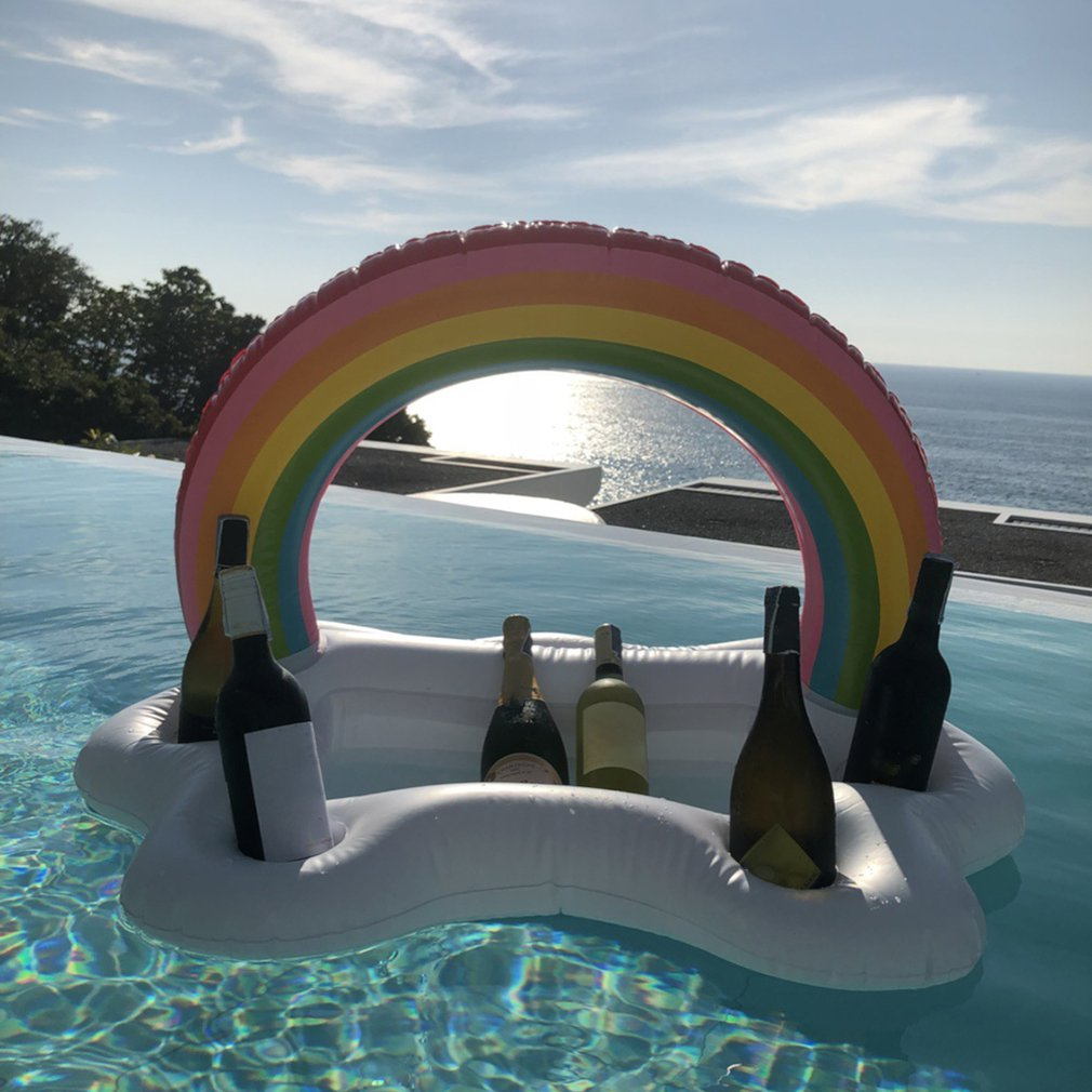 Summer Party Bucket Rainbow Cloud Cup Holder Inflatable Pool Float Beer Drinking Cooler Table Bar Tray Beach Swimming Ring(China)