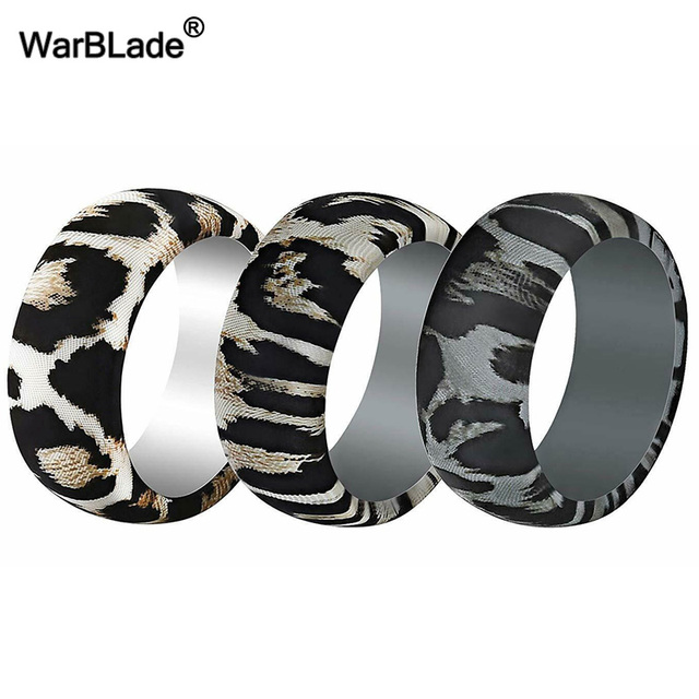 New Leopard Print Silicone Rings For Men Wedding Rubber Bands Hypoallergenic Flexible Sports Antibacterial Silicone Finger Ring