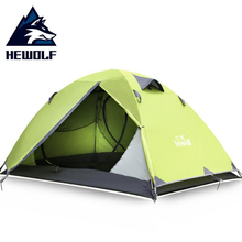 Hewolf Outdoor Camping Tent 2 Person Double Layer 3 seasons Waterproof Ultralight Couple for Hiking Tourist Equipment