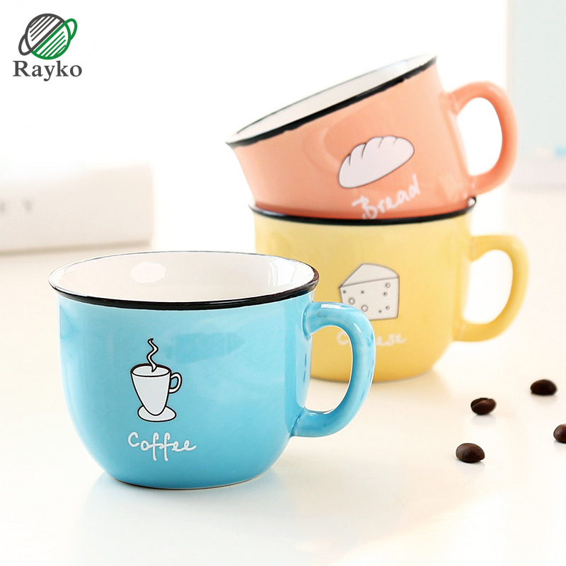 RAYKO Cute Pattern Ceramics Mug Capacity 200ml Mugs Breakfast Coffee Milk Tea Cups Colorful Novelty Gifts MU03 ...