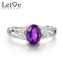 Leige Jewelry Natural Amethyst Ring Wedding Ring February Birthstone Oval Cut Purple Gemstone 925 Sterling Silver Leaves Shape