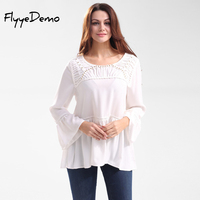 Sexy White Lace Blouse Rivet Shirts Women Fashion Tops Women Blouses Summer O Neck Hollow Out