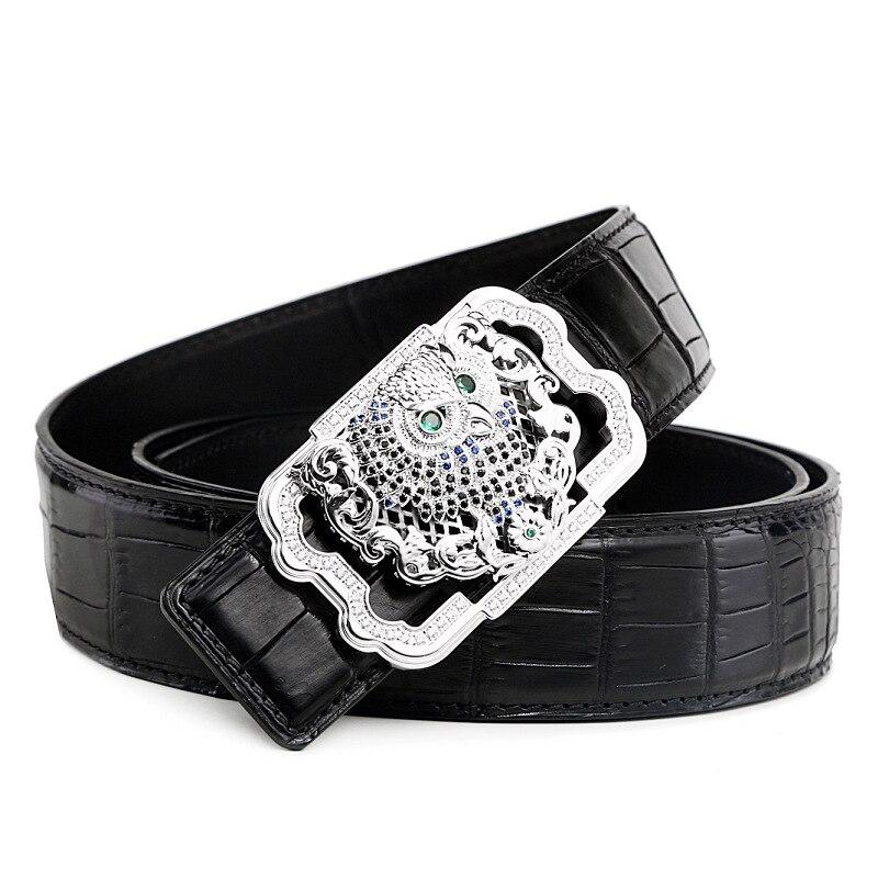 Luxury Genuine Crocodile Leather Belt Men High end Stainless Steel Buckle Rhinestone Owl Design Waist Belt Crocodile Skin Male - 2
