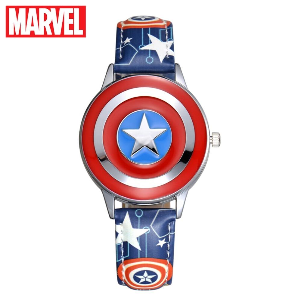 Marvel Avengers Captain America Child Clamshell Leather PU Waterproof Children Quartz Metal Case Watches Disney 81032 Relojios