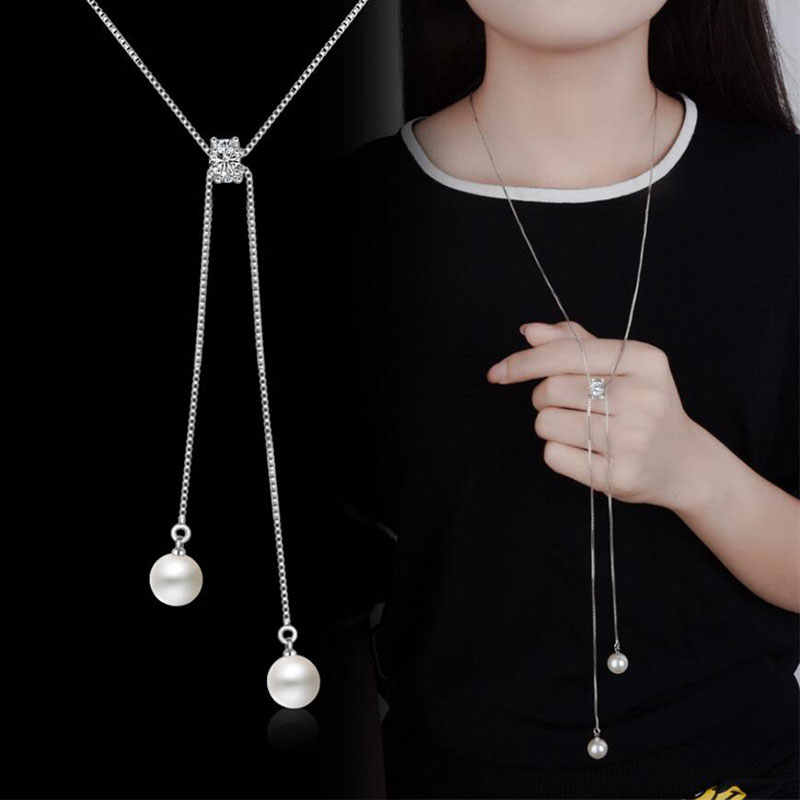 Anenjery Simple Fashion 925 Sterling Silver Necklace Zircon Pearl Sweater Long Chain Necklaces For Women choker collares S-N168
