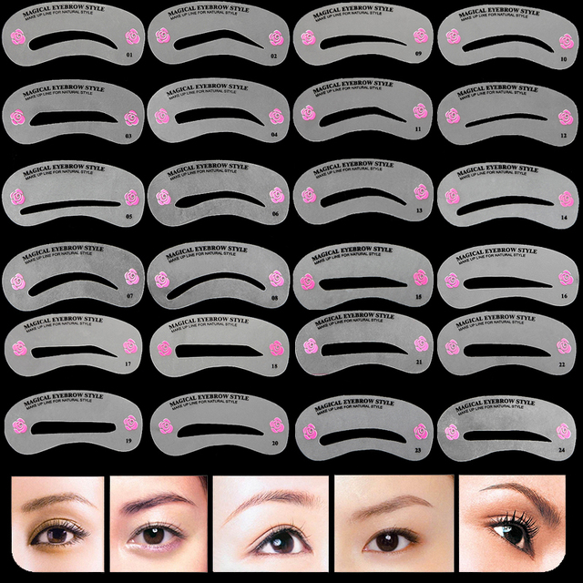 24 Pcs Pro Reusable Eyebrow Stencil Set Eye Brow Diy Drawing Guide