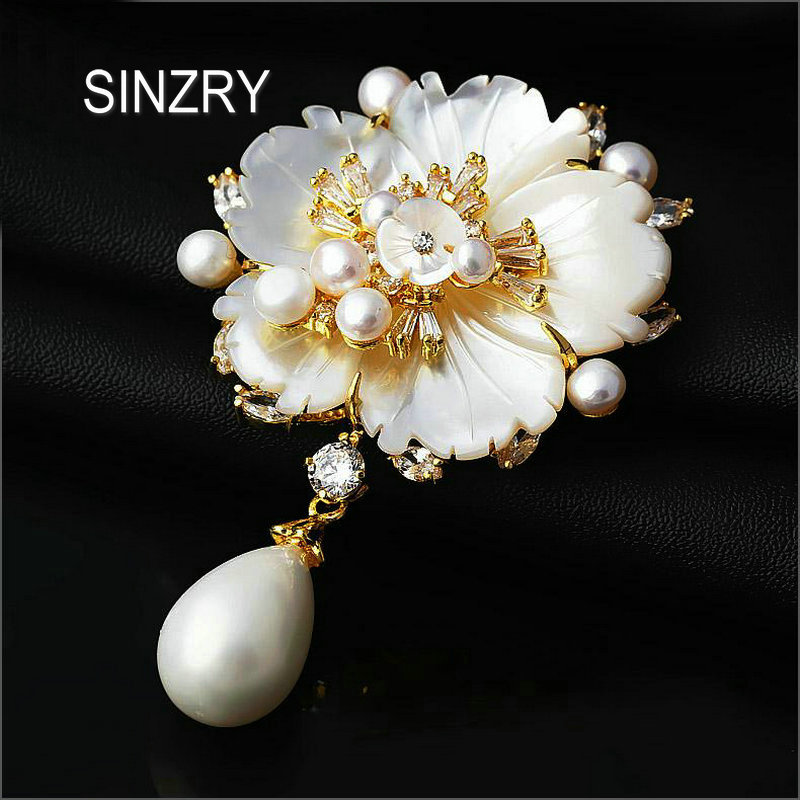 SINZRY Luxury Hot natural shell pearl flowers vintage big brooch pin cubic zircon bridal jewelry accessories vintage big flowers waterproof polyester shower curtain