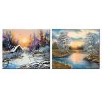 2 Panel de Pinturas Del Arte Abstracto Contemporáneo Hermoso Paisaje de Invierno Pintura Al Óleo de Imagen HD Giclee Lienzo Ilustraciones Home Decor