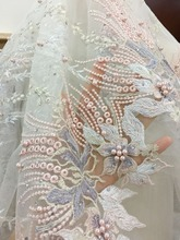 1 yard Pink Lilac Pastel Heavily Pearl Beaded Embroidery 3D Lace Fabric by Yard , Haute Couture