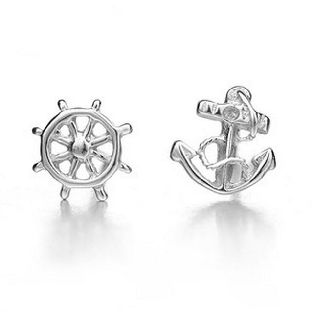 925 Sterling Silver Anchor Stud Earrings For Women S Marine Wind Earring