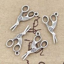 20 pçs encantos sewings tesoura 28x15mm bronze antigo prata cor pingentes fazendo diy artesanal tibetano bronze jóias